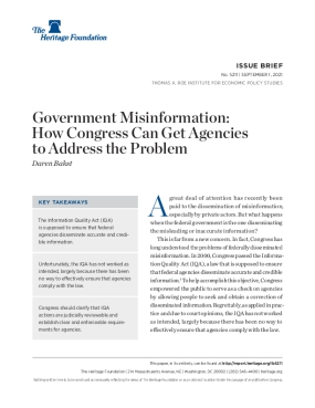 Government Misinformation: How Congress Can Get Agencies to Address the Problem