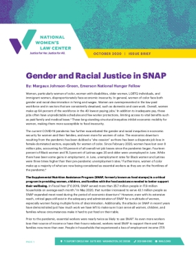Gender and Racial Justice in SNAP